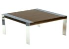 Square Wood And Chrome Coffee Table