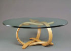 Thick Round Glass Top Coffee Table With Wood Base