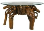 Thick Round Glass Top Coffee Table With Wood Base Driftwood