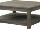 White Washed Large Square Coffee Table Dark Wood