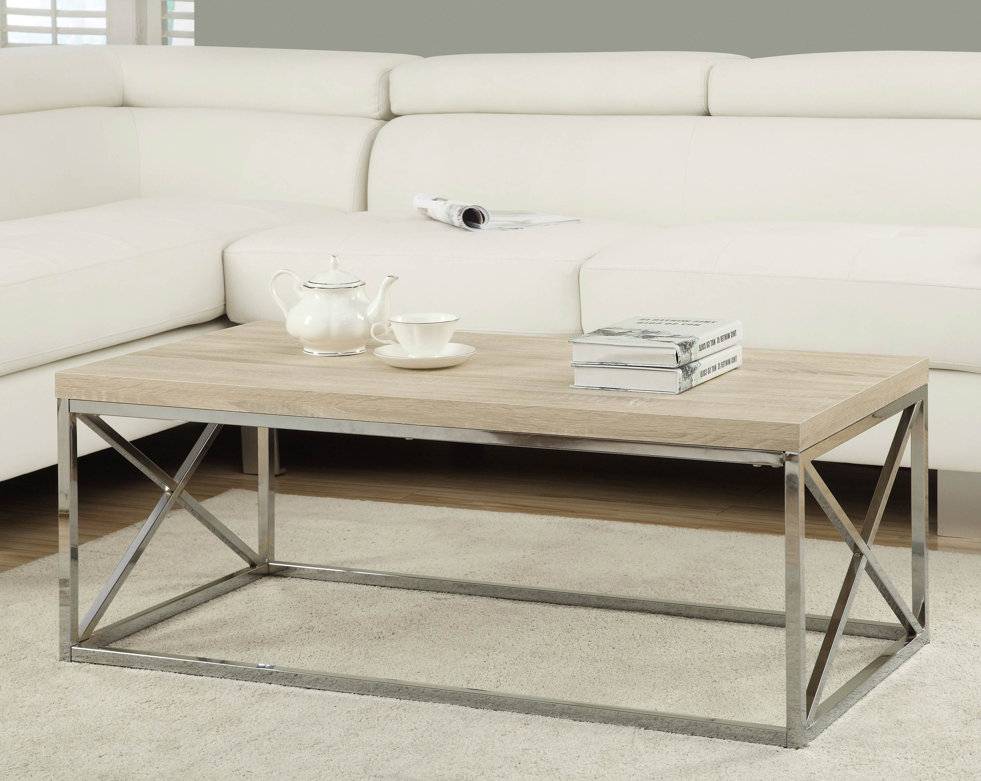 Wood And Chrome Coffee Table