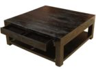 black square coffee table dark wood with drawers