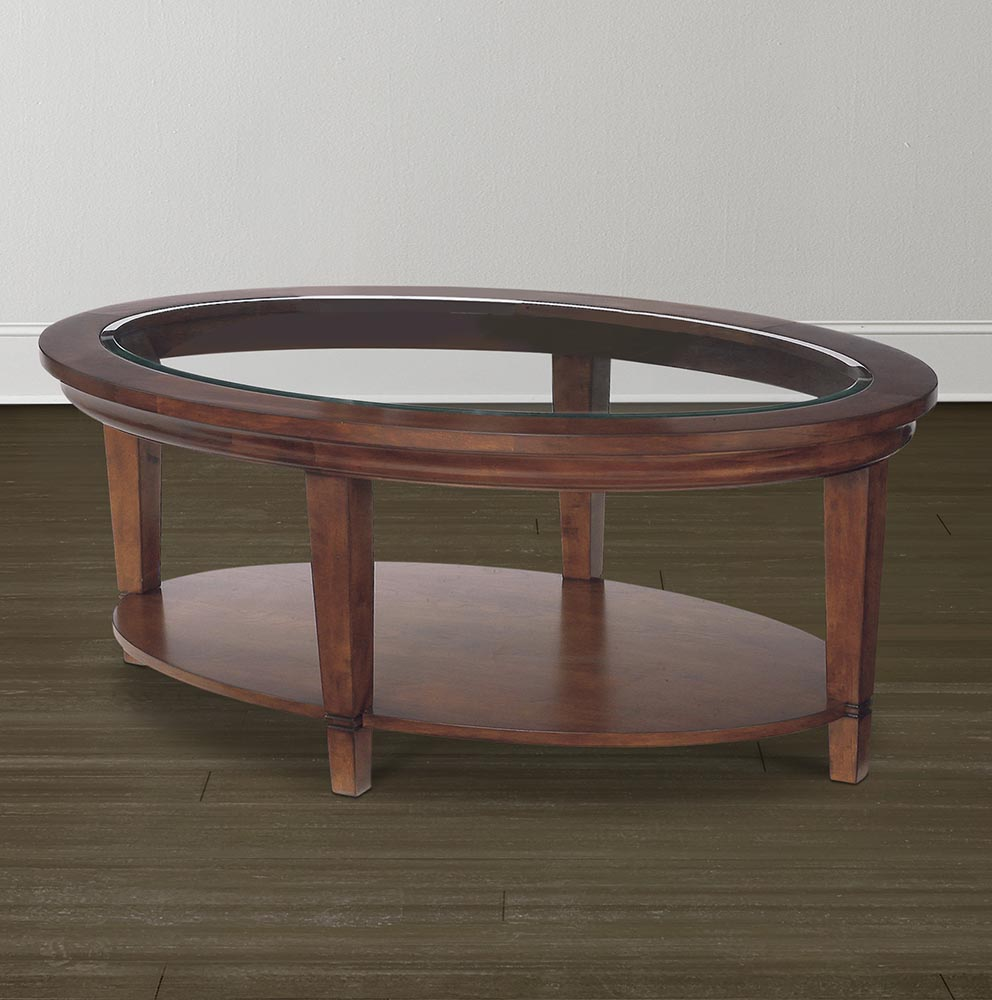 black wood coffee table with glass insert oval