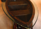 boat wood coffee table glass top
