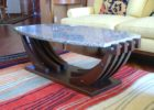 boat wood coffee table with faux marble top