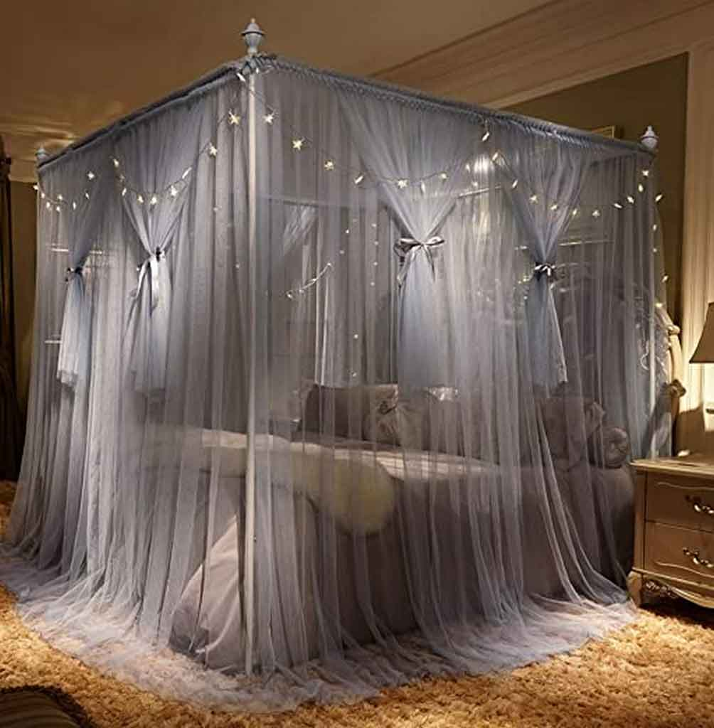 Get To Know How To Decorate Canopy Bed Curtains With Lights
