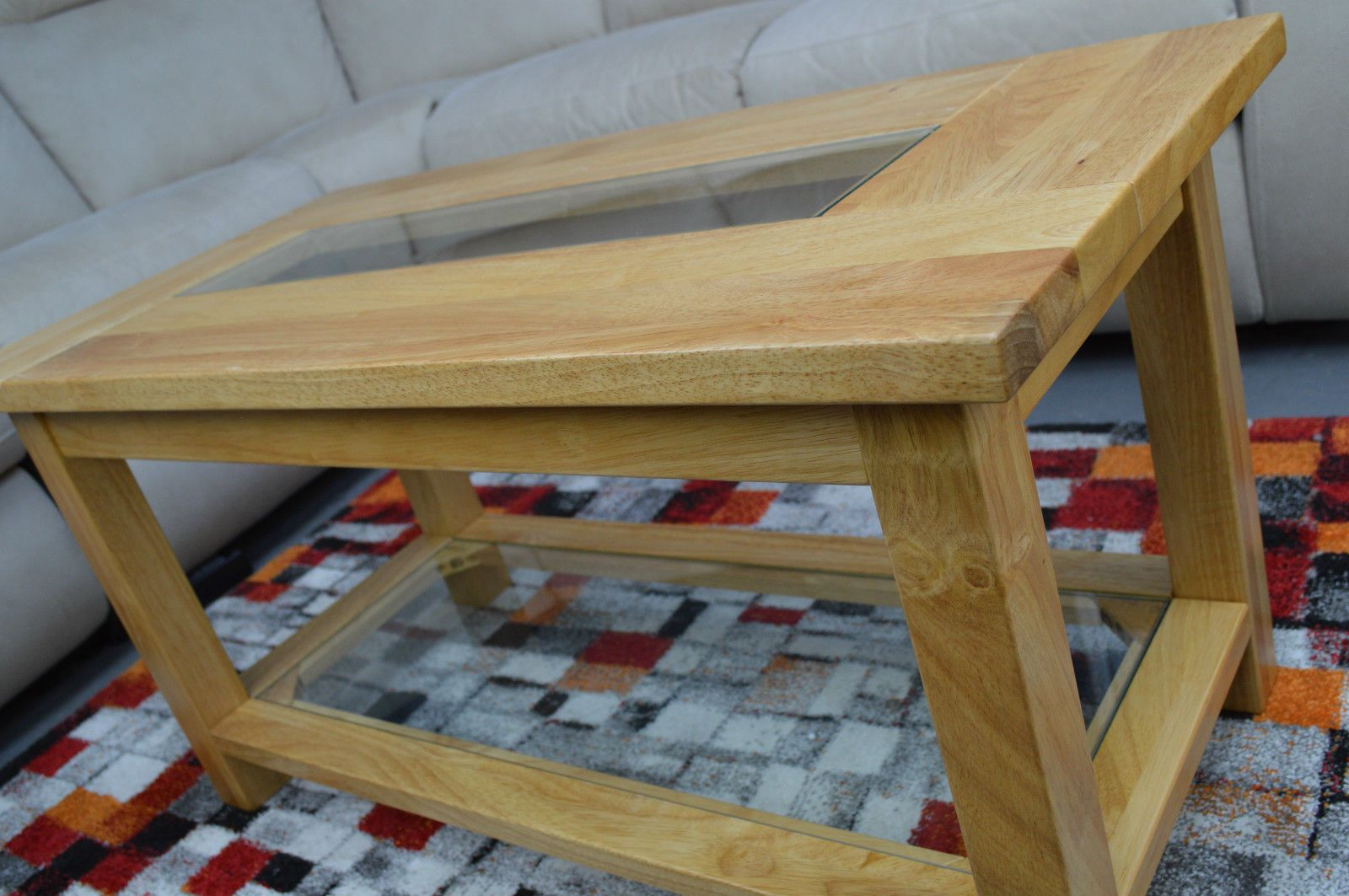 cheap wood coffee table with glass insert