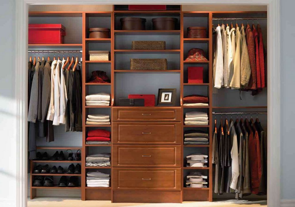 closet-amusing-home-interior-design-ideas-using-walk-in-closet-and-wardrobe-with-light-walnut-wood-shoe-rack-Clothes Wardrobe Armoire