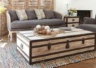 distressed white wood coffee table chest