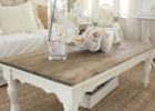 distressed white wood coffee table set