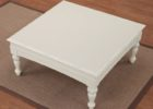 distressed white wood coffee table white square