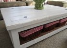 distressed white wood coffee table with storage
