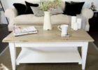 distressed white wood coffee table with storage ideas
