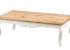 distressed white wood coffee table wood top