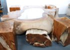 drift wood coffee table with glass insert