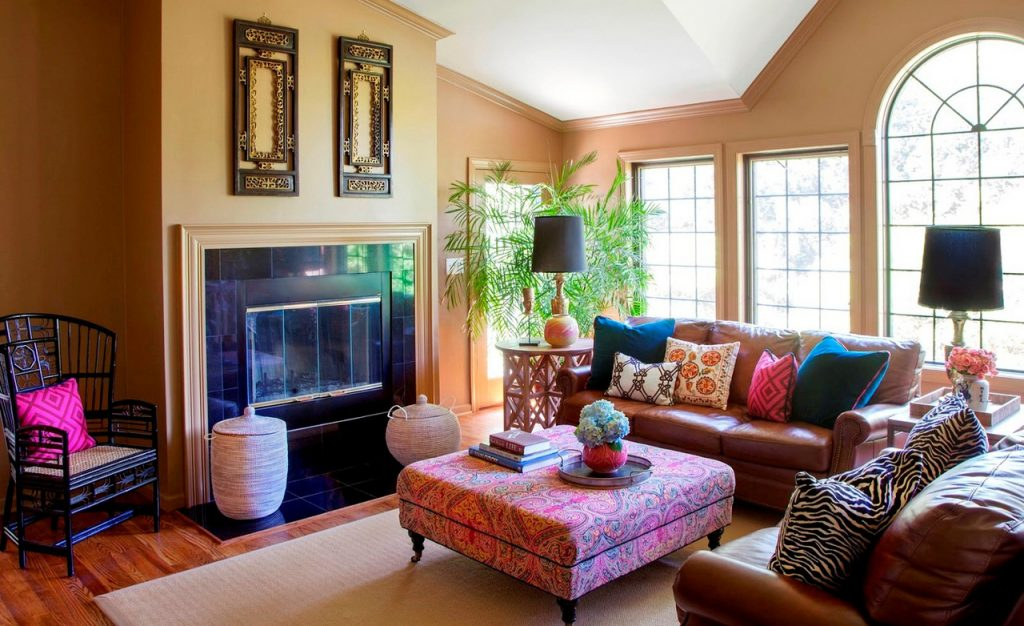 family room ideas-Colorful-Pillows-on-Brown-Sofas-inside-Bohemian-Decorating-Ideas-with-Modern-Fireplace-facing-Wide-Ottoman