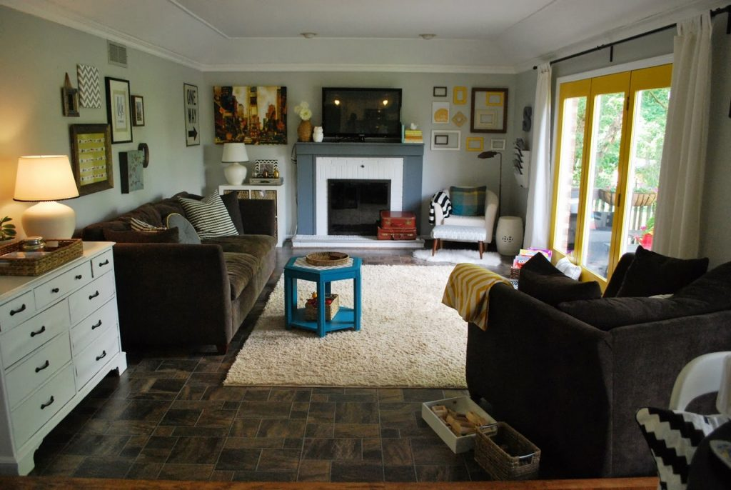 family room ideas-Square-Carpet-Tiles-For-Small-Family-Room-Design-With-White-Drawers-And-TV-Above-Fireplace-Ideas