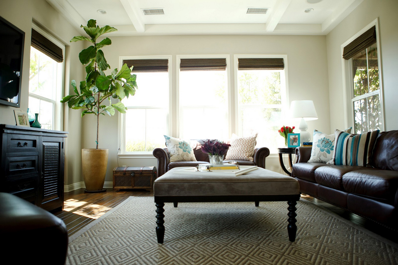 family room ideas-interior+design+family+room+fiddle+leaf+fig+custom+ottoman+leather+couch