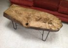 raw wood slab coffee table for sale with metal pin legs