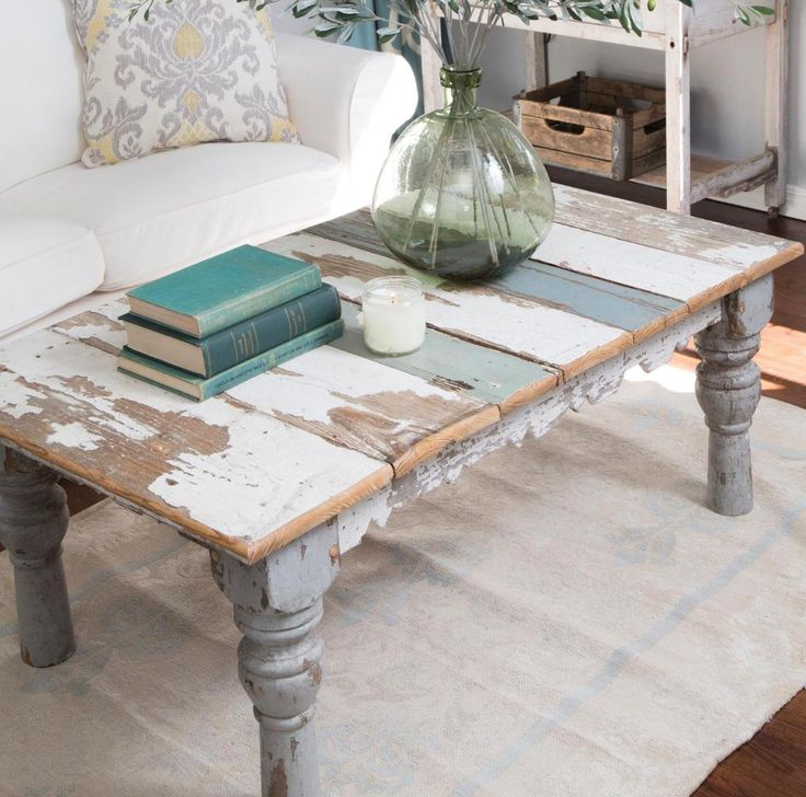 rustic distressed white woodcoffee table