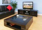 square coffee table dark wood glass top insert