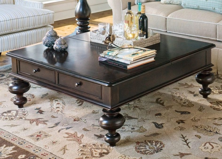 square coffee table dark wood set