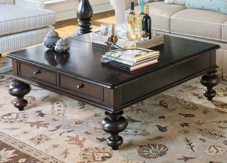 square coffee table dark wood set
