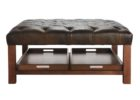 square coffee table dark wood tufted leather with storages