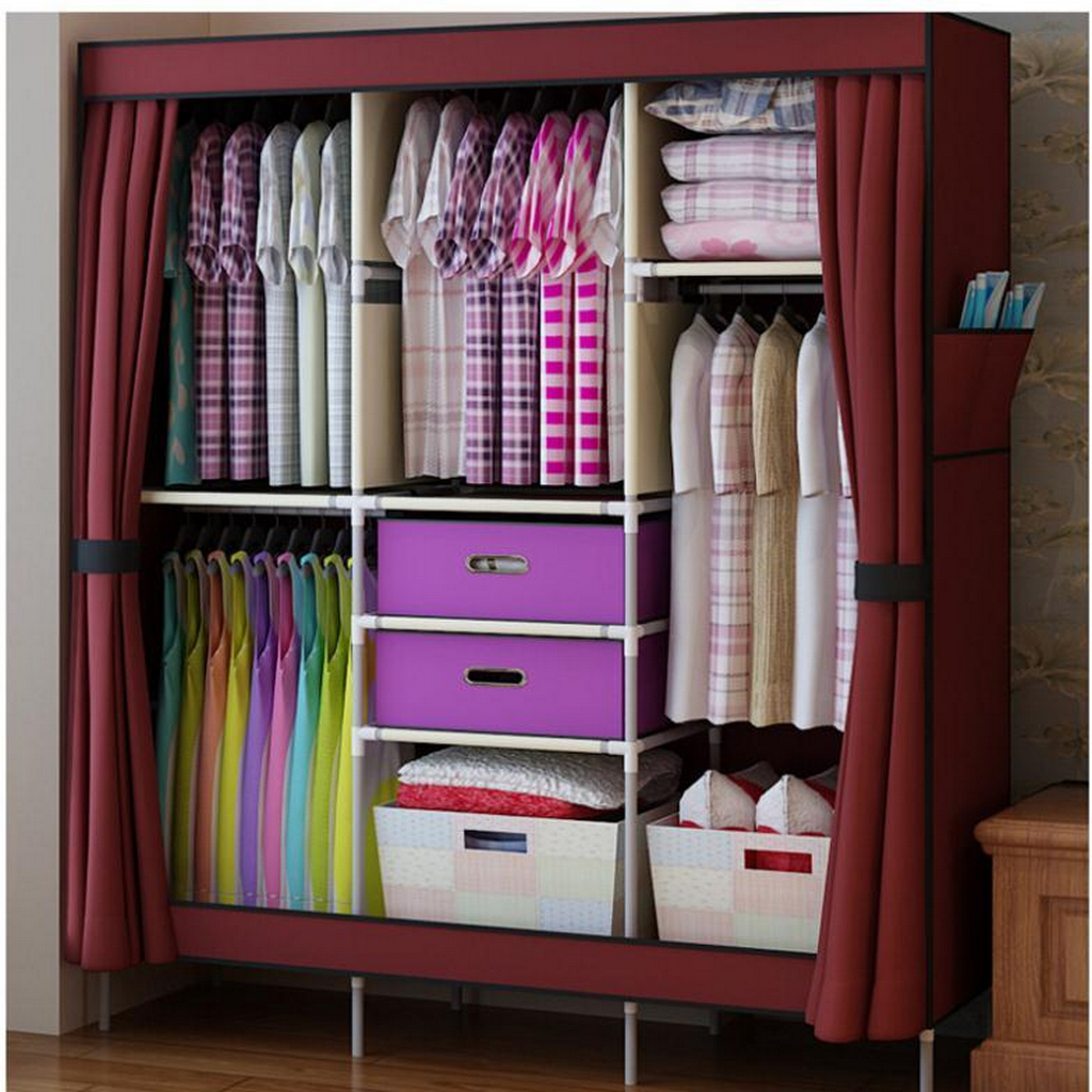 triple-portable-clothes-wardrobe-closet-cabinet-Clothes Wardrobe Armoire