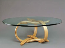 wood coffee table base only for thick glass tops