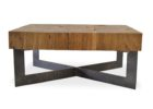 wood coffee table base only with black metal