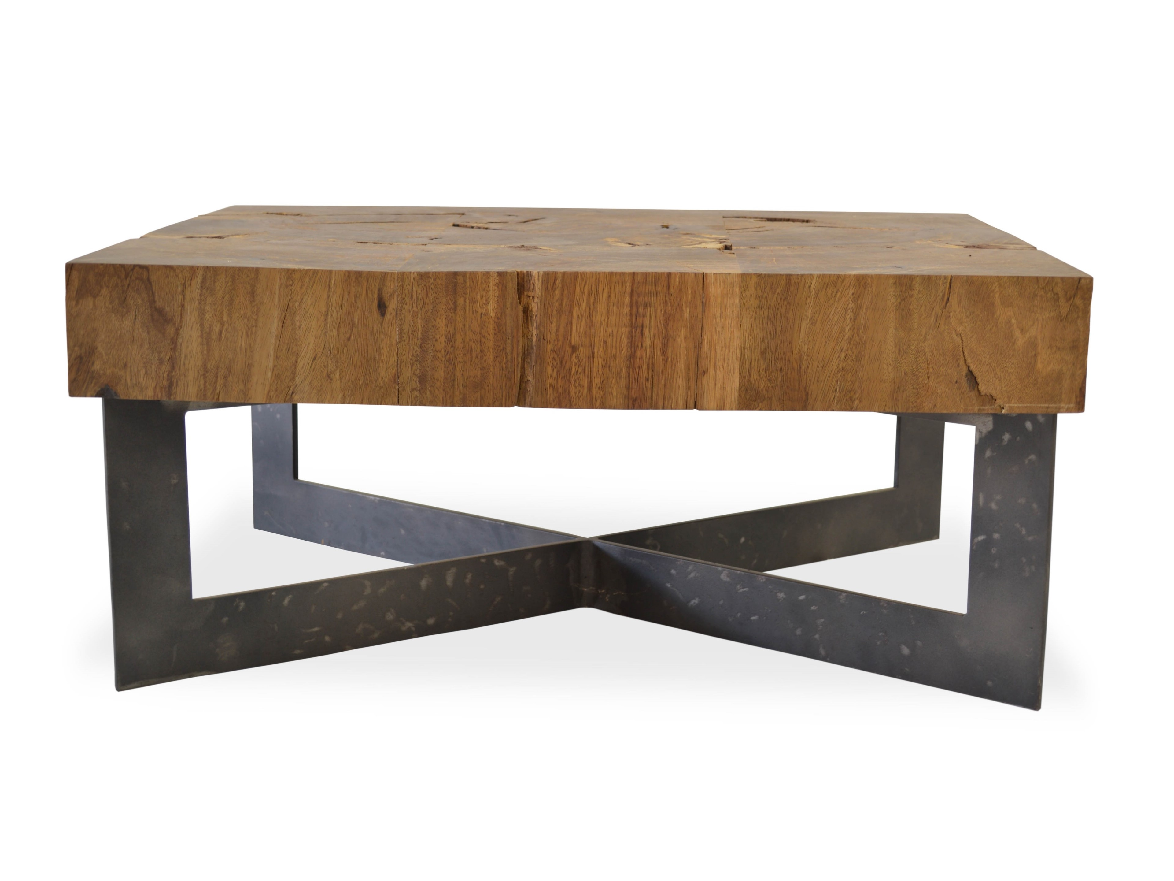 Perfect Wood Coffee Table Base Only With Black Metal