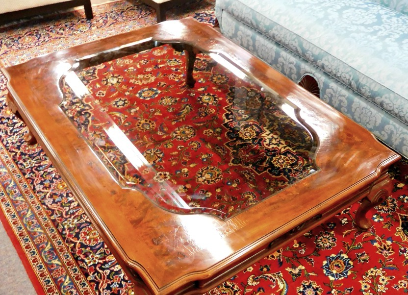 wood coffee table with glass insert contemporary designs