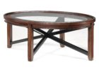 wood coffee table with glass insert oval
