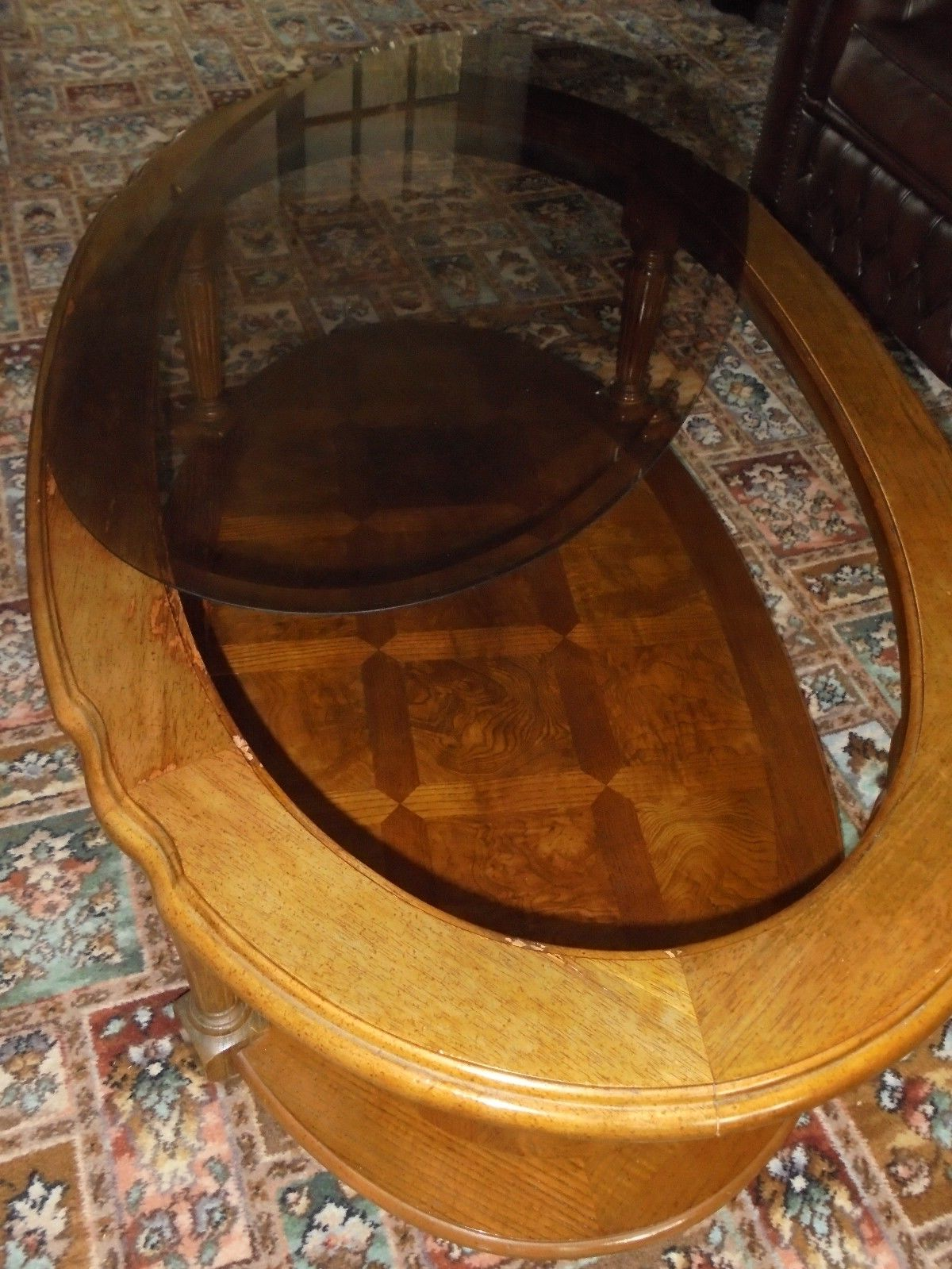 wood coffee table with glass insert oval with storages