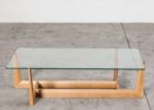 wood coffee table with glass insert rectangular and wood legs