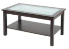 wood coffee table with glass insert rectangular with storages