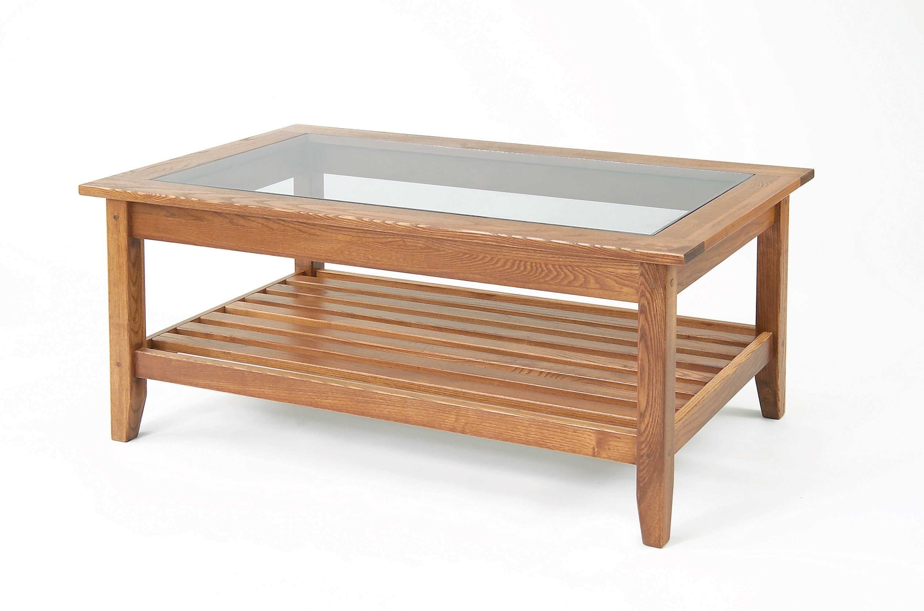 wood coffee table with glass insert rectangular