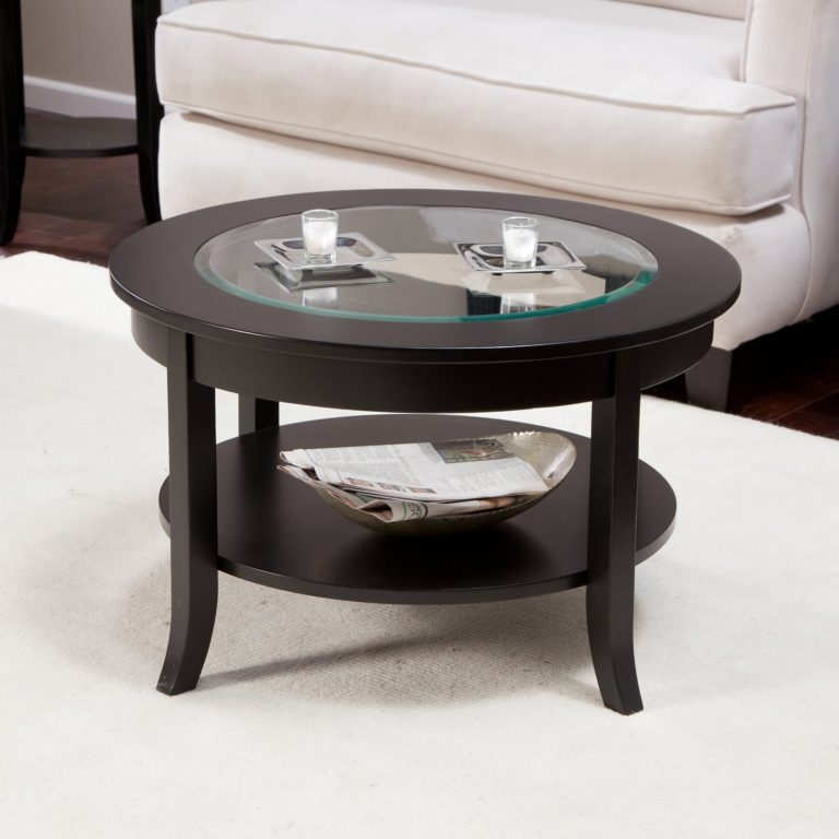 wood coffee table with glass insert round with storages
