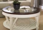 wood coffee table with glass insert round with white storages