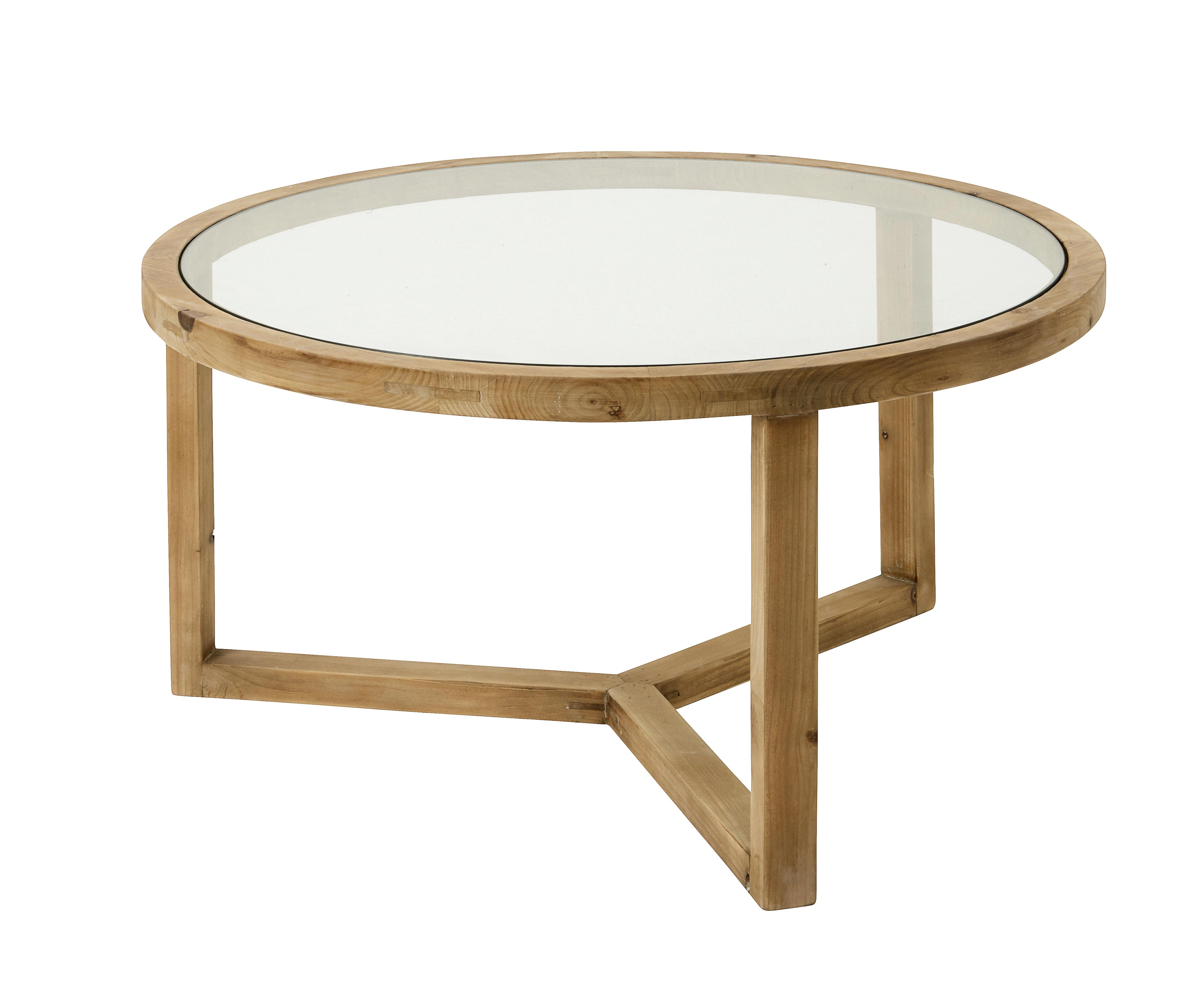 wood coffee table with glass insert round