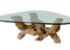 wood coffee table with glass insert with driftwood legs
