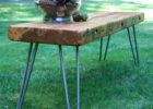 wood slab coffee table for sale with metal pin legs