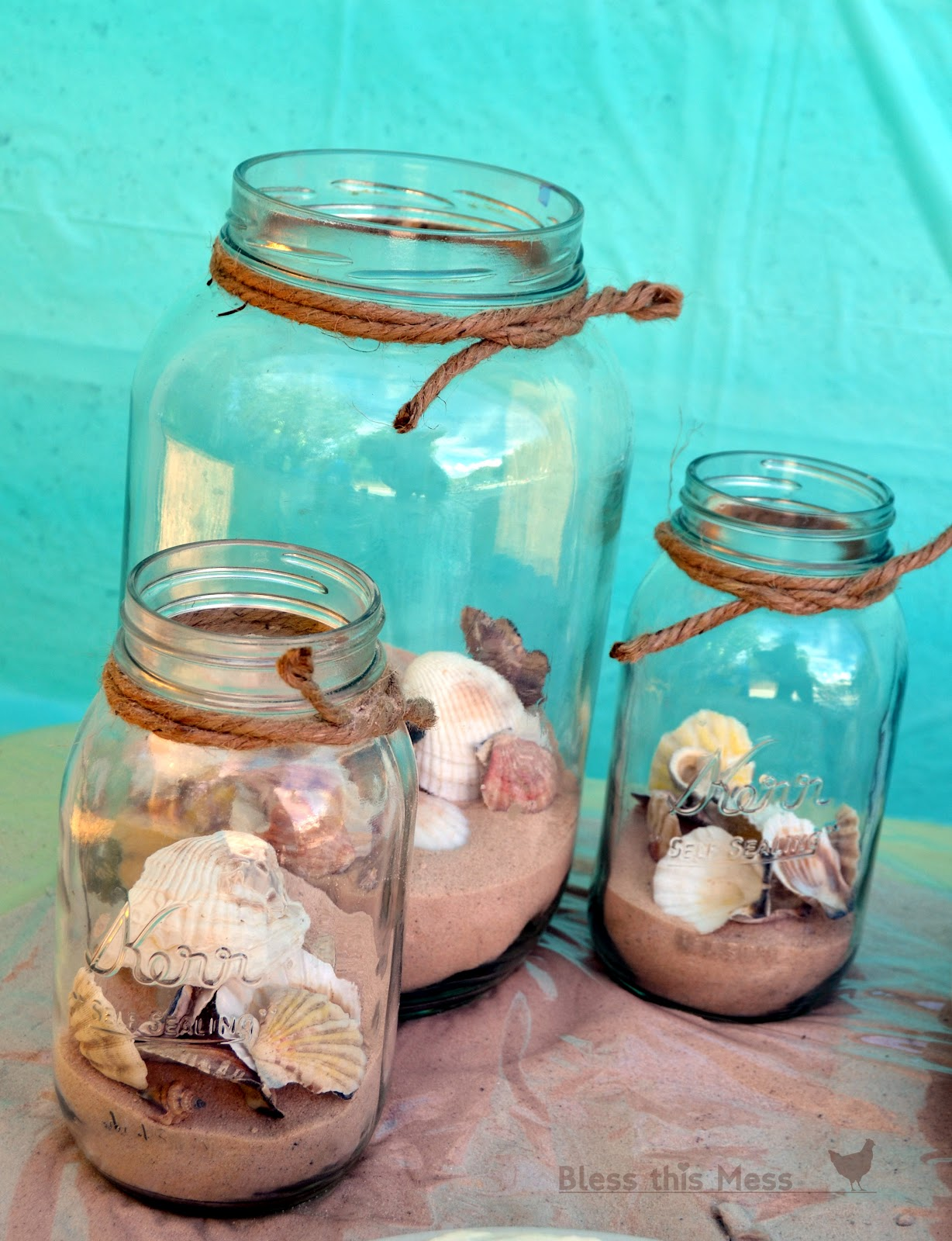Beach Theme Decor-Beach+birthday+party+decorations+and+food+tables+mason+jars