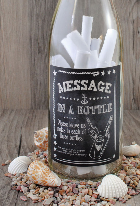 Beach Themed Party Decorations-Message-in-a-Bottle-Center-piece-with-shells