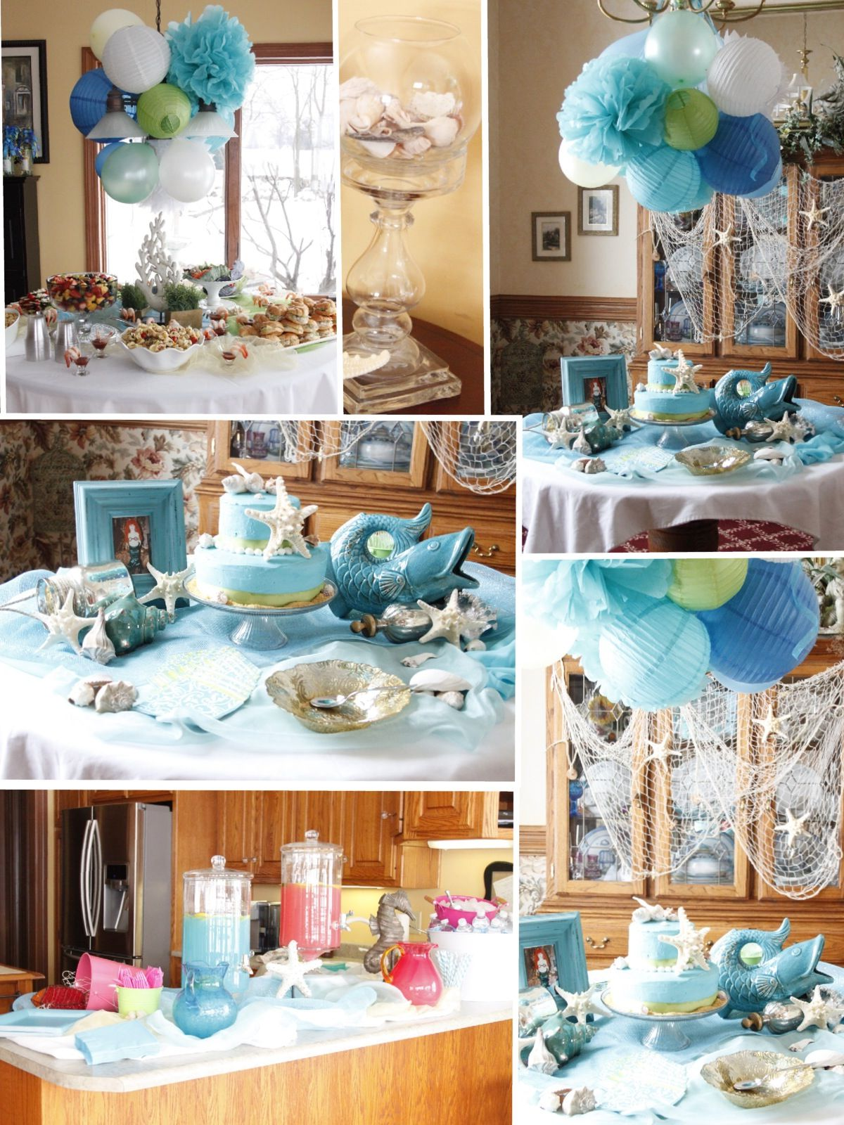 Beach Themed Party Decorations blue serving table theme decor ocean themed party decorations