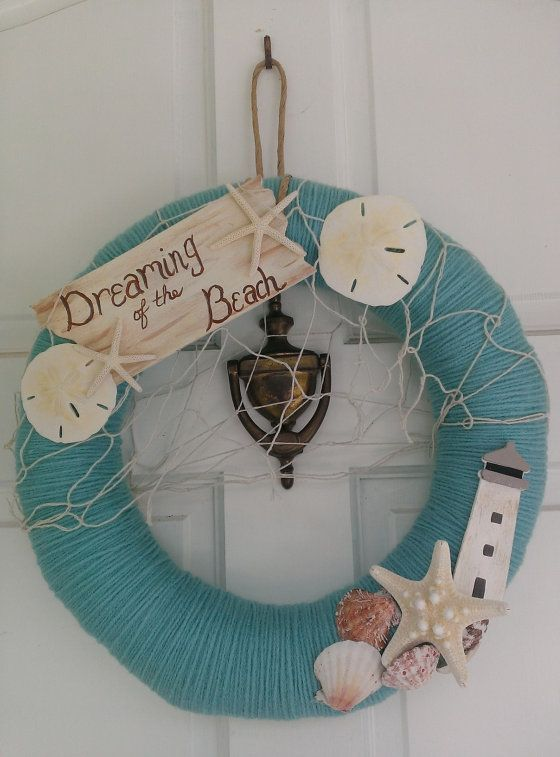 Beach Themed Party Decorations ideas for door entrance wreath