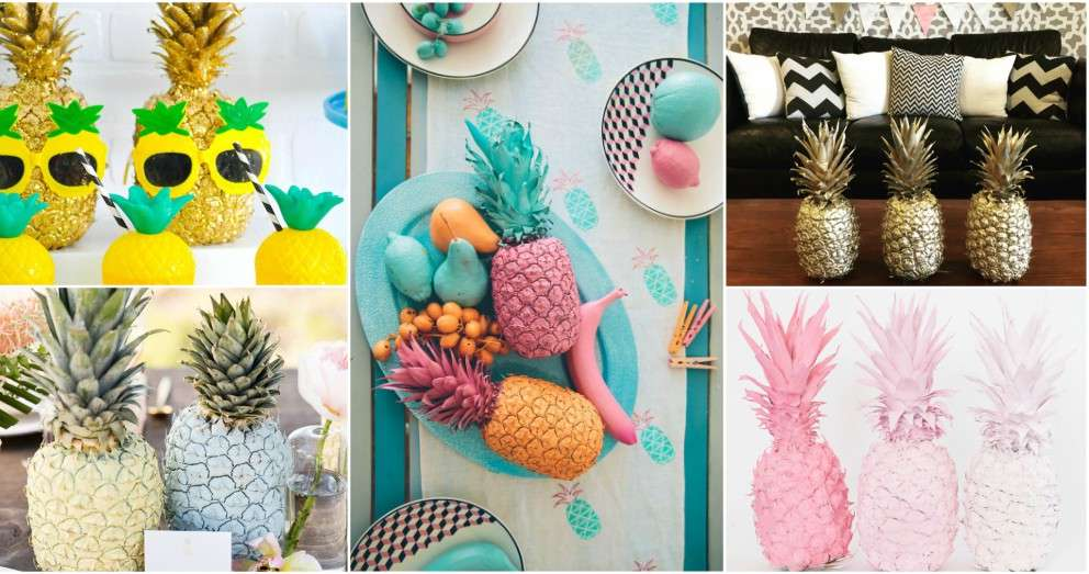 Beach Themed Party Decorations-spray-paint-pineapple