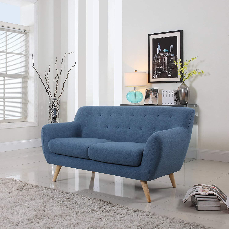 Mid Century Modern Loveseat blue living room furniture