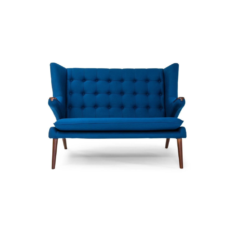 Mid Century Modern Loveseat blue tufted